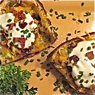 stuffed potato skins, lo-carb potato skins, potato protein meals